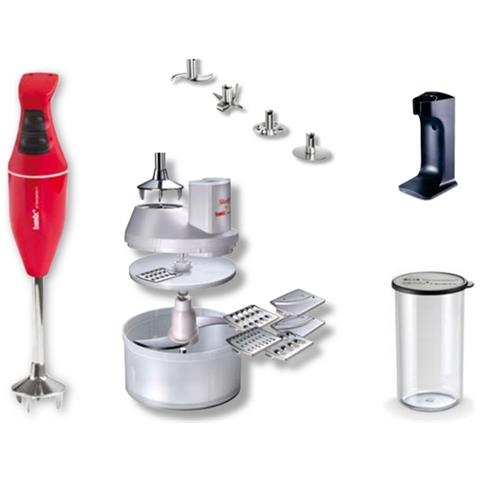 Frullatore Ad Immersione Mono Potenza 180 Watt + Set Accessori Colore Rosso