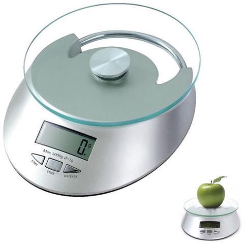 Bilancia Da Cucina Piatto In Vetro Pesa 1 Gr A 5 Kg Orologio Display