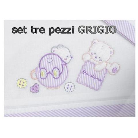 WILLY Lenzuola per Culla da 3 Pezzi con Biscotto Grigio