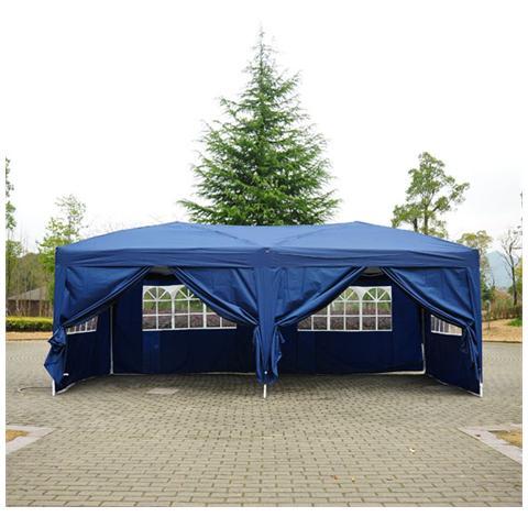 Gazebo Pieghevole Da Giardino Con 6 Pannelli Laterali Blu 6x3x2.55m