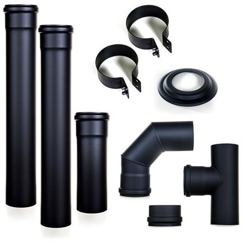 Kit Fumisteria In Acciaio Nero Verniciato Completo Di Guarnizioni Da 80 Mm