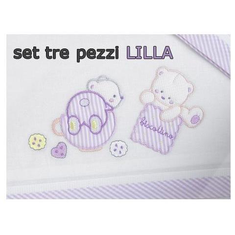 WILLY Lenzuola per Culla da 3 Pezzi con Biscotto Lilla