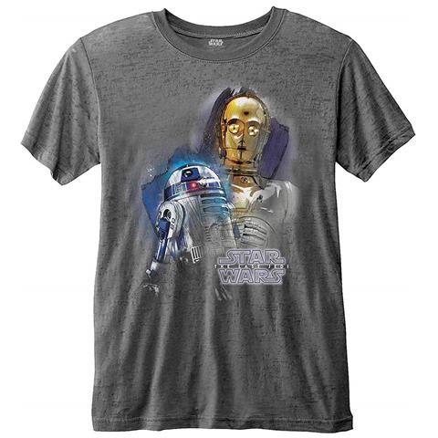 ROCK OFF Star Wars - Episode VIII Droids Portrait (Burn Out) (T-Shirt Unisex Tg. XL)
