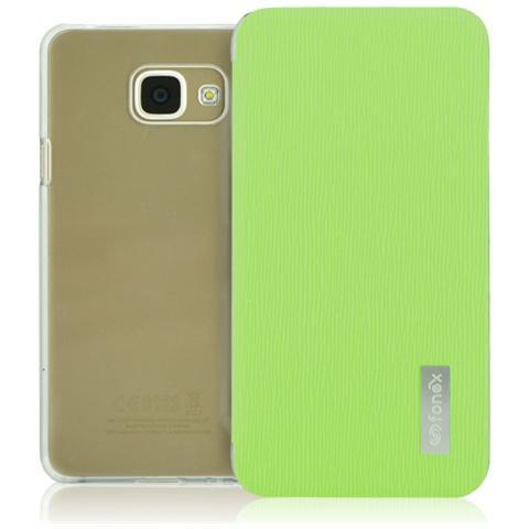 FONEX Crystal Slim Custodia a Libro con Back Trasparente per Galaxy A3 (6) Colore Verde