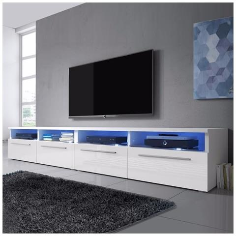 Image of Siena Double â?? Mobile Porta Tv / Supporto Tv Moderno (200 Cm, Bianco Opaco / pannelli Frontali Bianco Lucido Con Luci Led Blu)