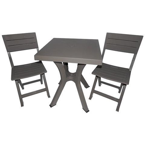 Set Tavolo E 2 Sedie Pieghevoli Duetto In Resina - Bianco