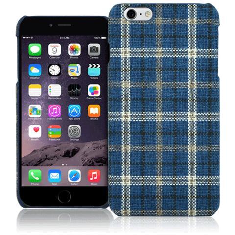 FONEX Tartan Cover Rigida in Tessuto con Texture Scozzese per iPhone 6 Plus / 6S Plus Colore Blu