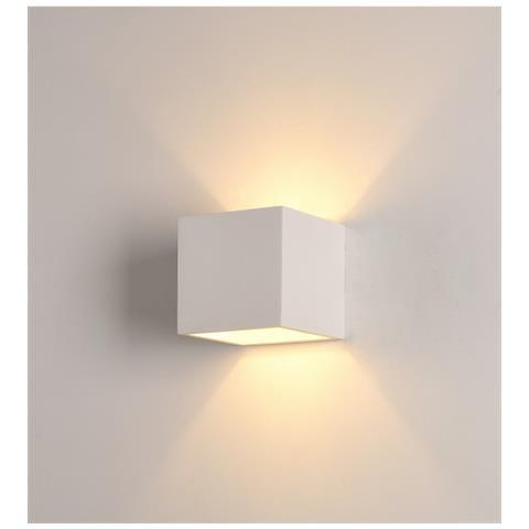 Applique Portalampada Led Da Muro G9 Cubo 11x11 Cm Con Vetrino In Resina Di Gesso W7037