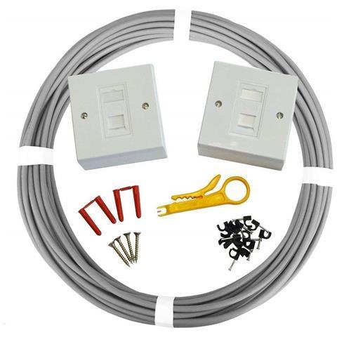 Image of Kit Cavo Di Rete Cat6 Utp / pvc 23 Awg Premium - Cavo Ethernet In Rame 100% - Colore Grigio (50 Metri)