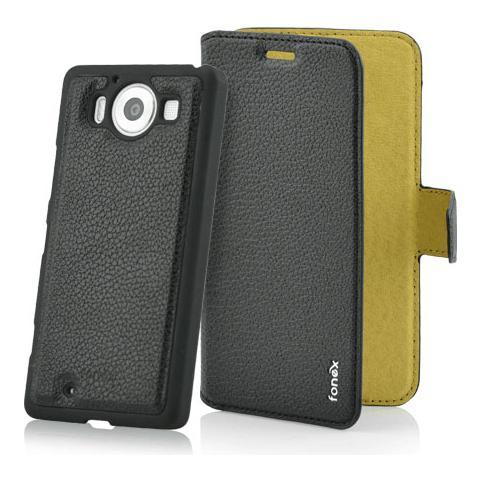 FONEX Magnetic Detachable Custodia 2 in 1 per Microsoft Lumia 950 Colore Nero