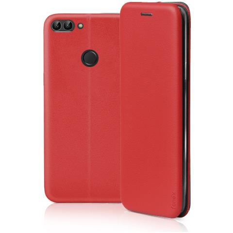 FONEX Profile Book Custodia a Libro per Huawei P Smart Colore Rosso