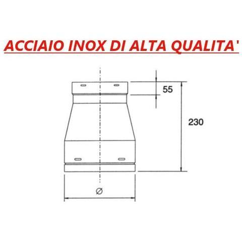 Cono di Riduzione ø 350 mm in acciaio inox per cappa