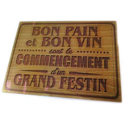scheda di taglio / tavolo di vetro opaco 'citations' (buon pane e buon vino) - 40x30 cm - [ p1046]