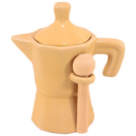 Barattolo Zuccheriera Caffettiera Ceramica Beige Mini Moka In Ceramica Beige Con Coperchio E Cucchiaino In Legno.