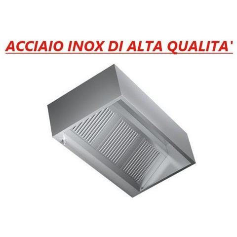Cappa cubica d'aspirazione acciaio inox a parete con motore – Dimensioni cm. 140x140x45h