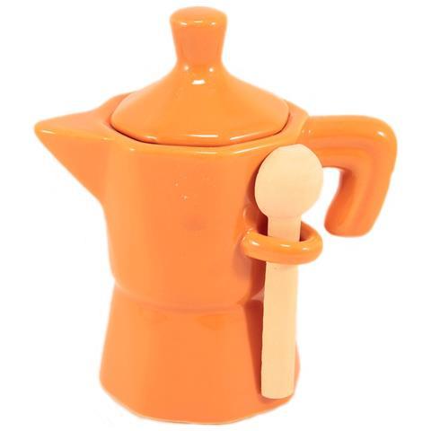 Barattolo Zuccheriera Caffettiera In Ceramica Arancione Mini Moka In Ceramica Arancione Con Coperchio E Cucchiaino In Legno.