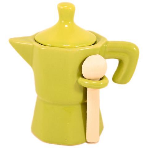 Barattolo Zuccheriera Caffettiera Verde In Ceramica Mini Moka In Ceramica Verde Con Coperchio E Cucchiaino In Legno.