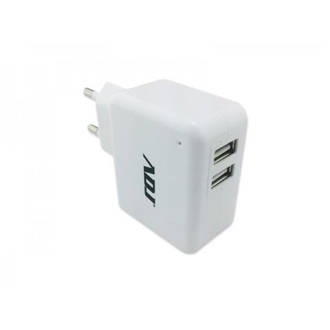 ADJ Alimentatore universale per Tablet casa / ufficio ADJ AI010U Due porte USB di uscita per alimentare contemporaneamente 2 utenze Compatibile anche con iPad e iPhone Office Series Col. Bianco