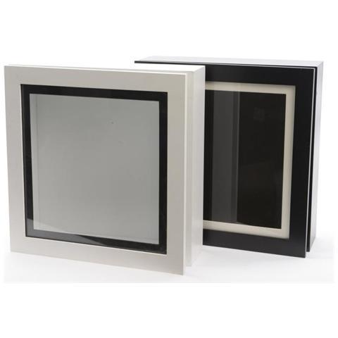 KAEMINGK Scatola in Legno da 28 x 28 cm Colore Bianco / Nero