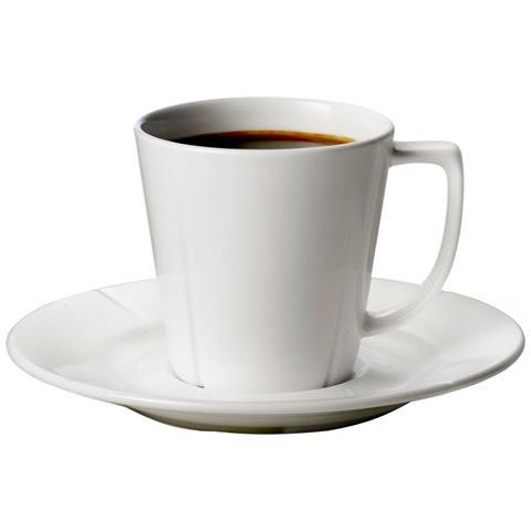 , Tazza Da Caffè Con Piattino In Porcellana Bianca