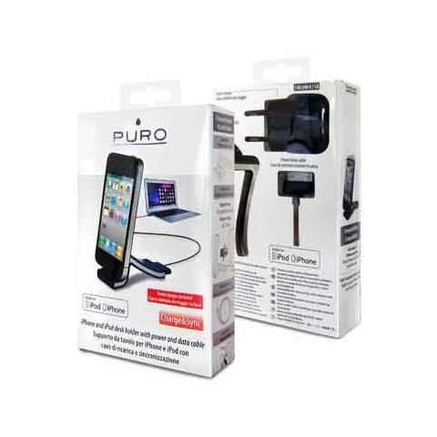 PURO *Puro Supporto Da Tavolo Per Iphone / Ipod Con Cavo Apple Usb E Mtcusb 1A Nero - Certificato