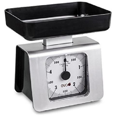 Bilancia Da Cucina Meccanica Inox Nero Argento Portata 5 Kg Precisione 25 Grammi