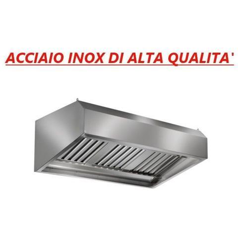 Cappa con carboni attivi d aspirazione acciaio inox a parete con motore - Dimensioni mm 2400x700x600