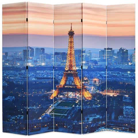 Paravento Pieghevole 200x170 cm Stampa Parigi di Notte