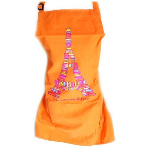 'french touch' grembiule 'les macarons de paris' arancione - [ m5758]