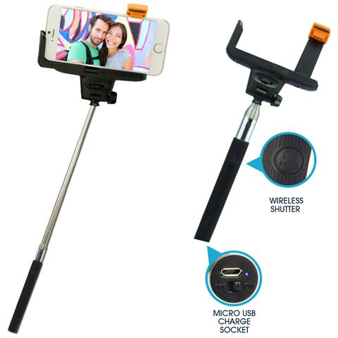 GeBL 6701- Supporto Selfie allungabile con controllo Bluetooth col. nero L. 0,23-1,0m