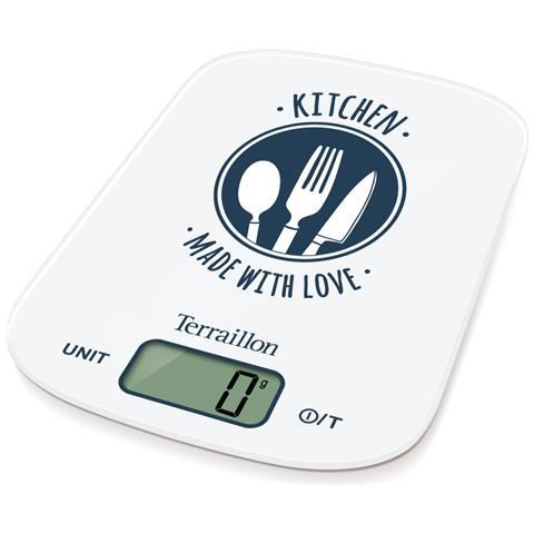 Terraillon KEG52010M Da tavolo Rettangolo Bilancia da cucina elettronica Blu, Bianco bilancia da cucina