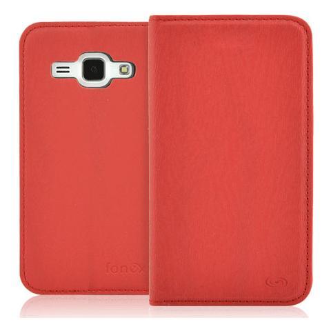 FONEX Classic Book Custodia a Libroo In Ecopelle per Galaxy J1 Colore Rosso
