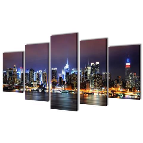 vidaXL 5 Pz Set Stampa Su Tela Da Muro Panorama New York A Colori 100 X 50 Cm