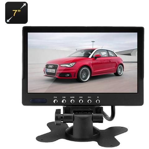 "Car Video Monitor LCD Auto 7"" 2 Ingressi AV 800x480 Pal + NTSC Colore Nero"