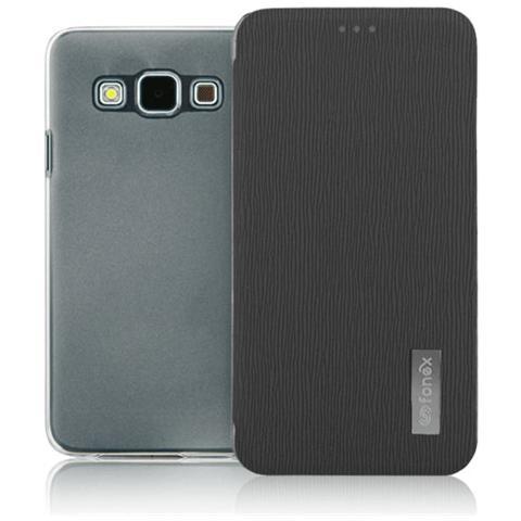 FONEX Crystal Slim Custodia a Libro con Back Trasparente per Galaxy A5 Colore Nero