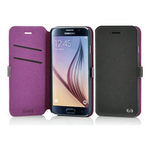 FONEX Elegance Book Custodia a Libro per Galaxy S6 Bicolore Grigio Scuro / Viola