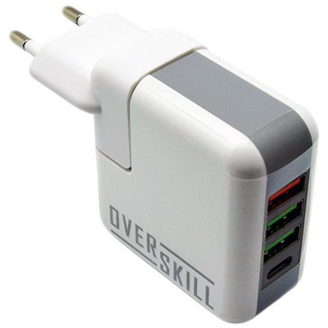 OVERSKILL Caricabatteria da Viaggio con 3 porte USB + 1 porta Type-C