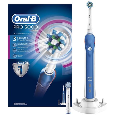 BRAUN Oral-B 3000 PRO, CA / Batteria, Incasso, 1 pezzi, CrossAction, Sensitive
