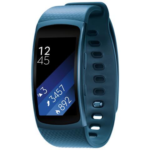 "SAMSUNG Gear Fit2 Impermeabile Misura L Display 1.5"" Memoria 4GB Wi-Fi Bluetooth funzione Personal Trainer GPS + Lettore Musicale per Android - Blu"