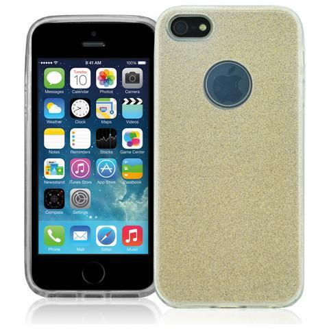 FONEX Chic Soft Cover in Morbido TPU con 3 Card Glitterate per Apple iPhone 5/5S / SE