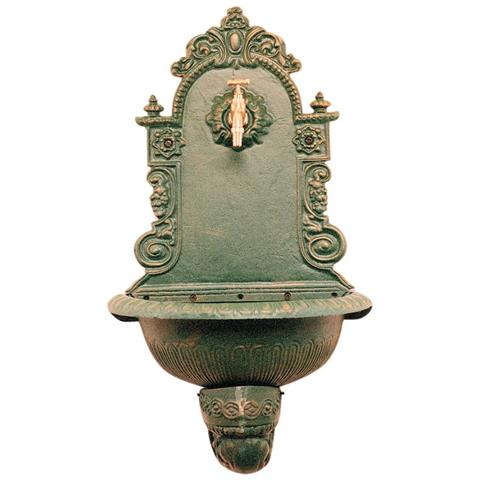 1pz Fontana In Ghisa A Parete Verde Ant. (dj112)