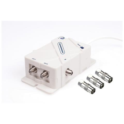 BANDRIDGE 2 Way Antenna Amplifier, 3x F, Bianco