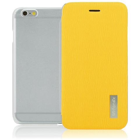 FONEX Crystal Slim Custodia a Libro con Back Trasparente per iPhone 6/6S Colore Giallo