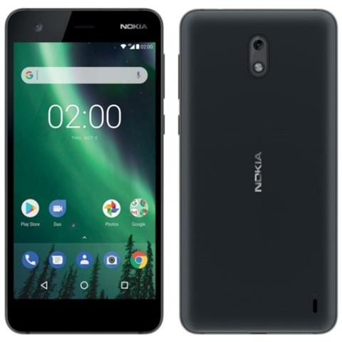"NOKIA 2 Nero 8 GB 4G/LTE Dual Sim Display 5"" HD Slot Micro SD Fotocamera 8 Mpx Android"