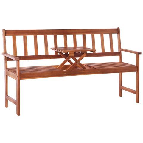 Panchina da Giardino 3 posti con Tavolino Pop-up 158cm Massello Acacia Marrone