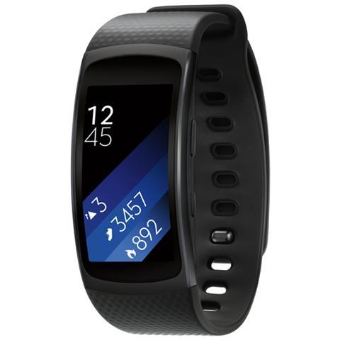 """SAMSUNG Gear Fit2 Impermeabile Misura L Display 1.5"""" Memoria 4GB Wi-Fi Bluetooth funzione Personal Trainer GPS + Lettore Musicale per Android - Nero"""