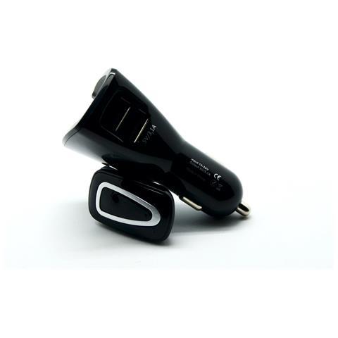 OVERSKILL Auricolare Bluetooth Earphone con Microfono e caricatore per Auto colore Nero