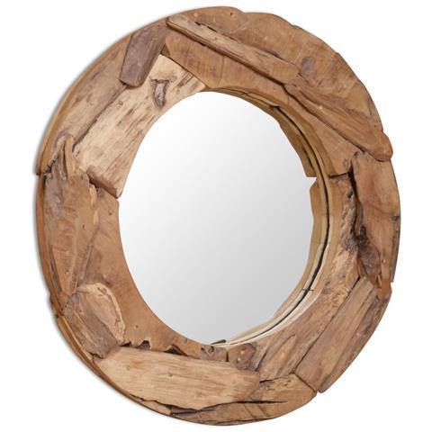 Specchio Decorativo In Legno Di Teak 80 Cm Rotondo