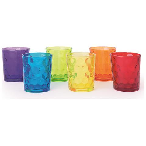 Confezione 6 bicchieri in vetro pressato colori assortiti cl. 26.
