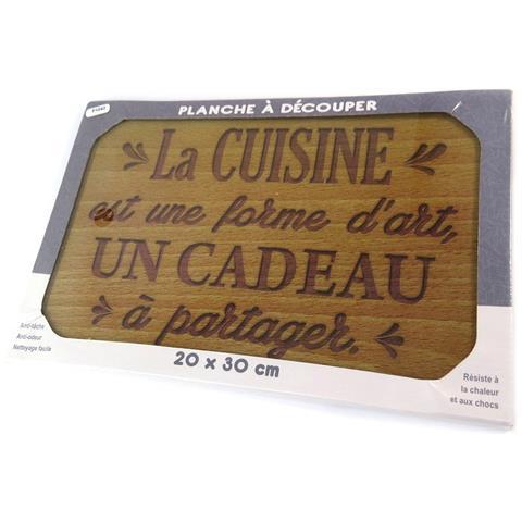 scheda di taglio / tavolo di vetro opaco 'citations' (dono da condividere cucina) - 30x20 cm - [ p1042]